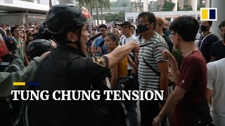 Tense stand-off in Tung Chung