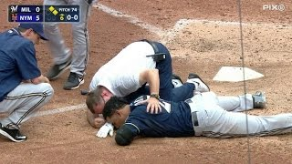 MIL@NYM: C. Gomez leaves game after pitch off helmet