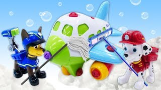 Paw Patrol toys & a toy plane for kids: Paw patrol's Chase and Marshall clean up a plane