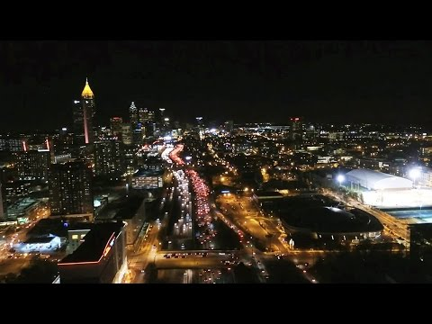 UAV/Drone Views of Atlanta's Downtown Connector (I-75 & I-85) (Night Time-Lapse of Traffic Patterns)