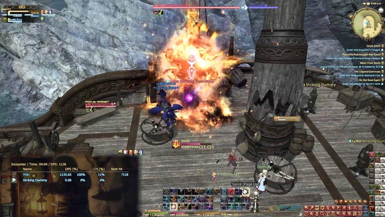 Level 60 Black Mage Rotation V3 - 1130DPS @6mins | Final Fantasy XIV:  Heavensward