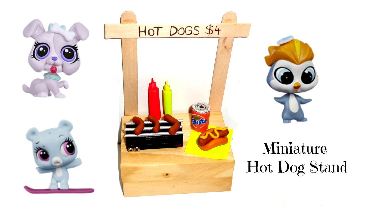 Miniature Hot Dog Stand Diy Lps Crafts Easy Doll Crafts