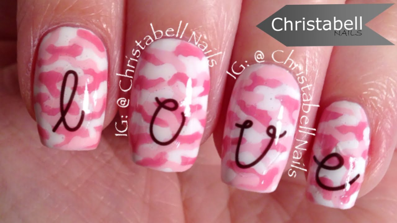 Christabellnails Pink Camo And Nail Decals Tutorial Youtube