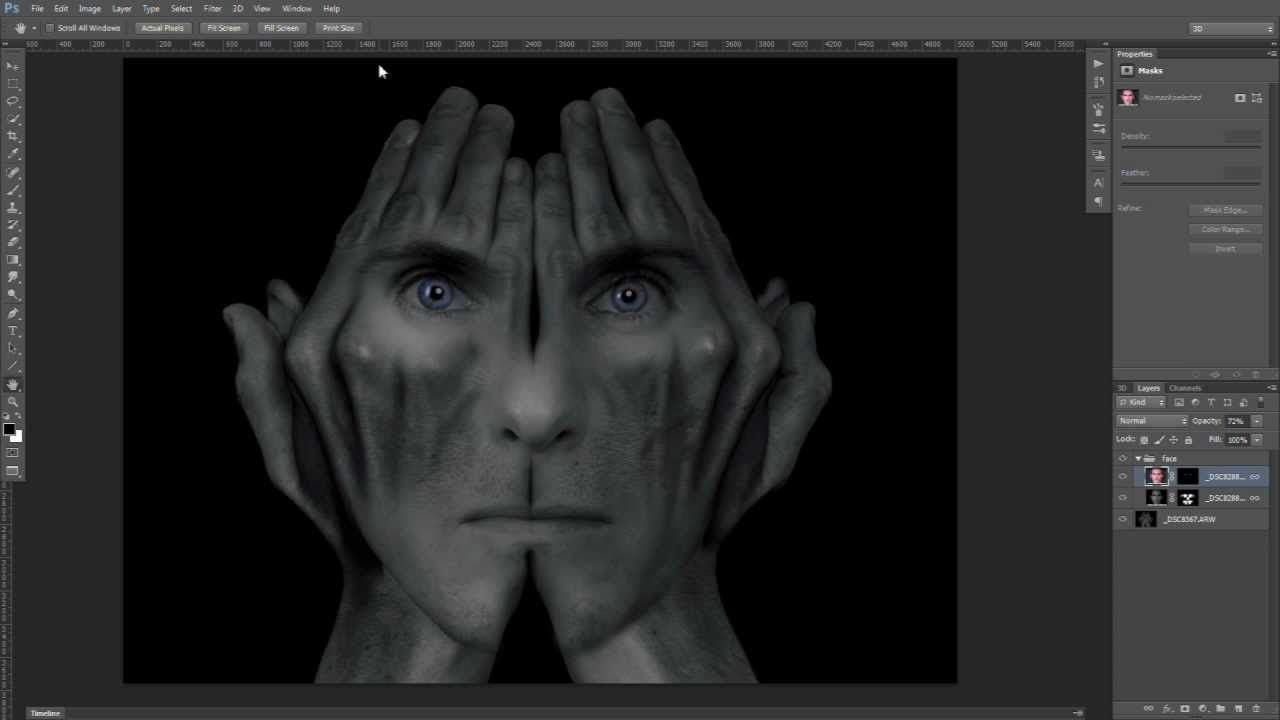 Surreal Studio  photoshop Image Creation  Face in Hands