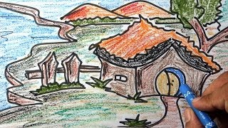Colourful scenery for kids with wax colour pencil drawing | step by step with narration