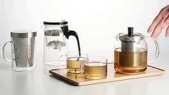 Teekanne aus Glas mit feinmaschigem Edelstahl Sieb - SAMADOYO