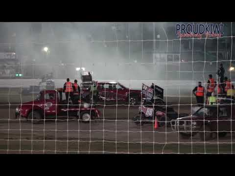 Things got a bit heated for the 58p of Peter Bengston in the Palmerston North Panthers heat race against the Baypark Busters at the Auckland Super Stock ... - dirt track racing video image