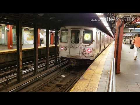MTA NYC SUBWAY: (R) (W) LCL Train Action @ Cortland St