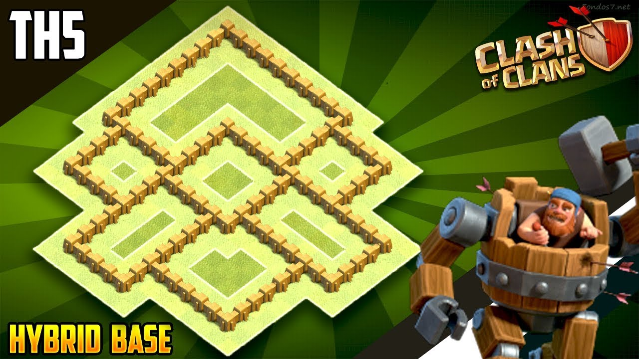 New Best Th5 Hybrid Trophy Defense Base 2018 Town Hall 5 Design Clash Of Clans