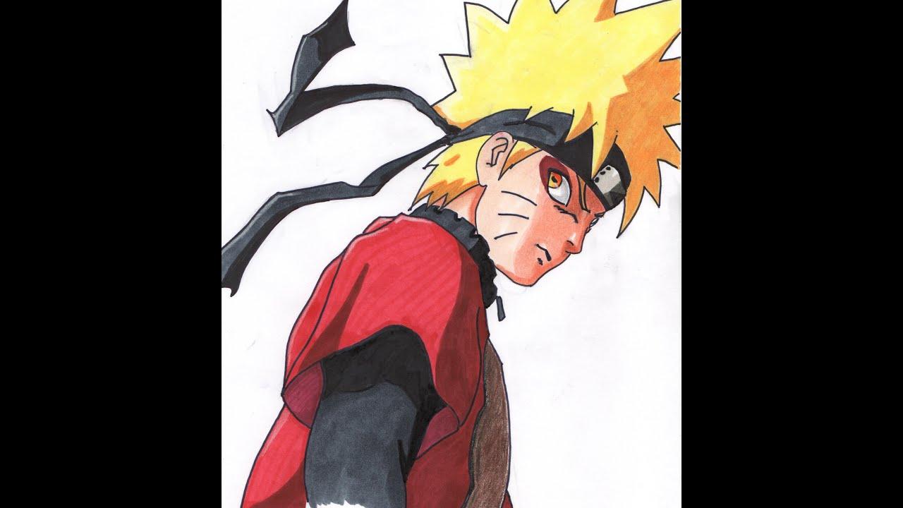 Drawing Naruto sage mode Sennin - Naruto shippuden - YouTube