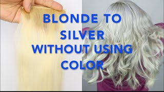 Video BLONDE to SILVER hair WITHOUT using COLOR! [Fanola No Yellow Shampoo] download MP3, 3GP, MP4, WEBM, AVI, FLV Januari 2018