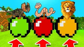 Minecraft PE : DO NOT CHOOSE THE WRONG APPLE! (Dilophosaurus, Worms & Lions)