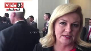 بالفيديو..رئيسة كرواتيا لـ السيسى: نحتاح أن نعمل سويا لمكافحة خطر الإرهاب