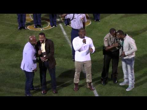 The Wardlaw Brothers sing the National Anthem at Booster Stadium