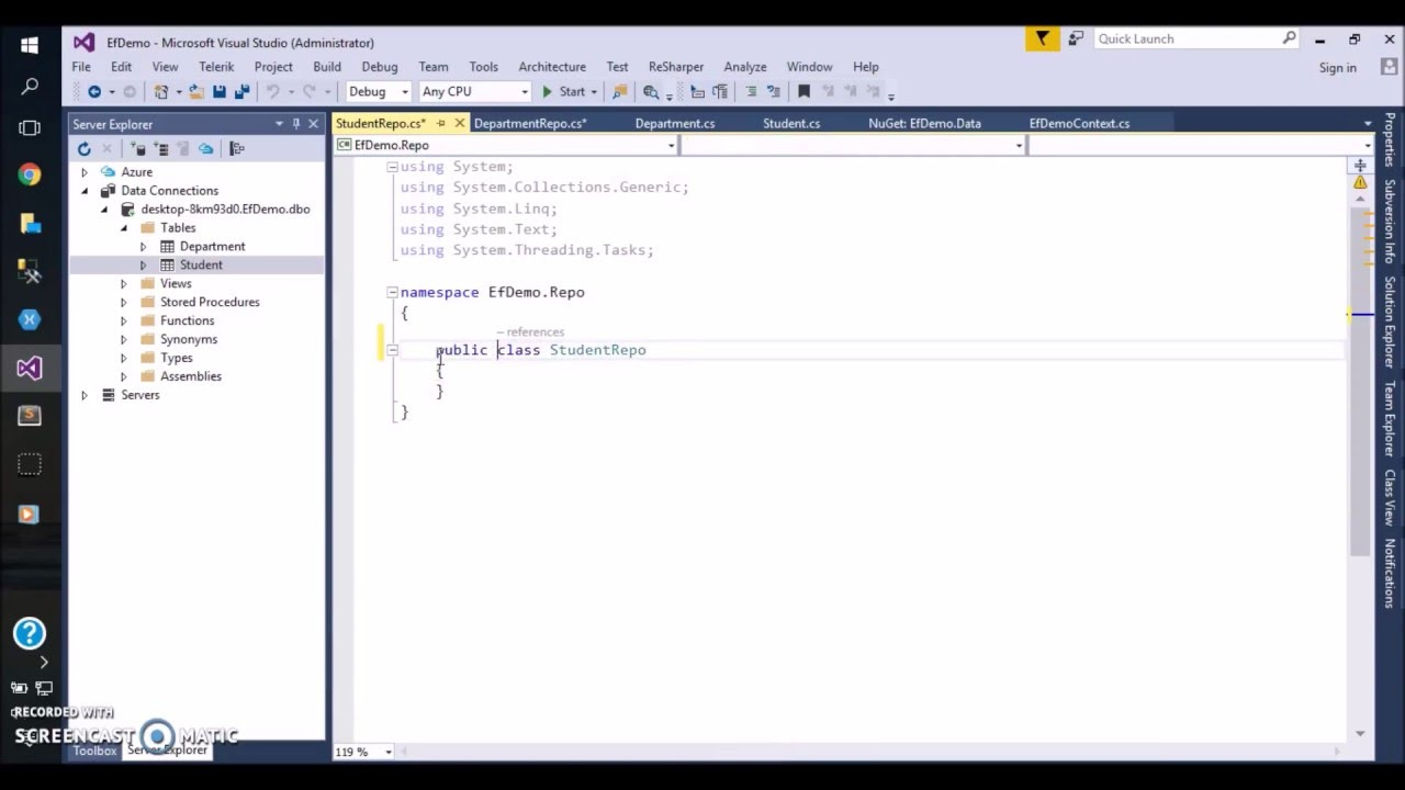 Code first entity framework example c#