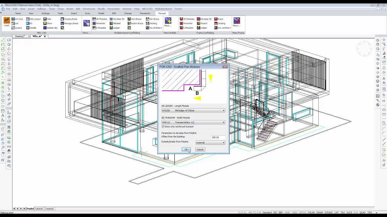 PON CAD BIM-oriented scaffold, stage, stand, and roof design