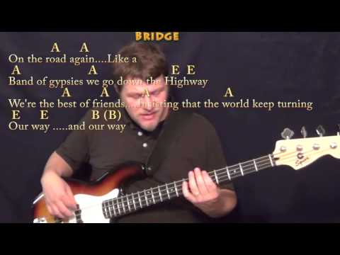 On the Road Again (Willie Nelson) Bass Guitar Cover Lesson in E with Chords/Lyrics