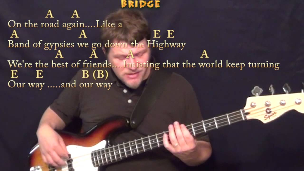 On The Road Again Willie Nelson Bass Guitar Cover Lesson In E With
