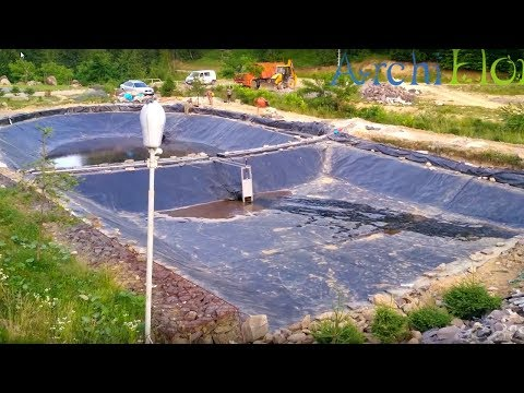 видео: Гидроизоляция пруда для форели. 1200м.кв. бутилкаучука (epdm).