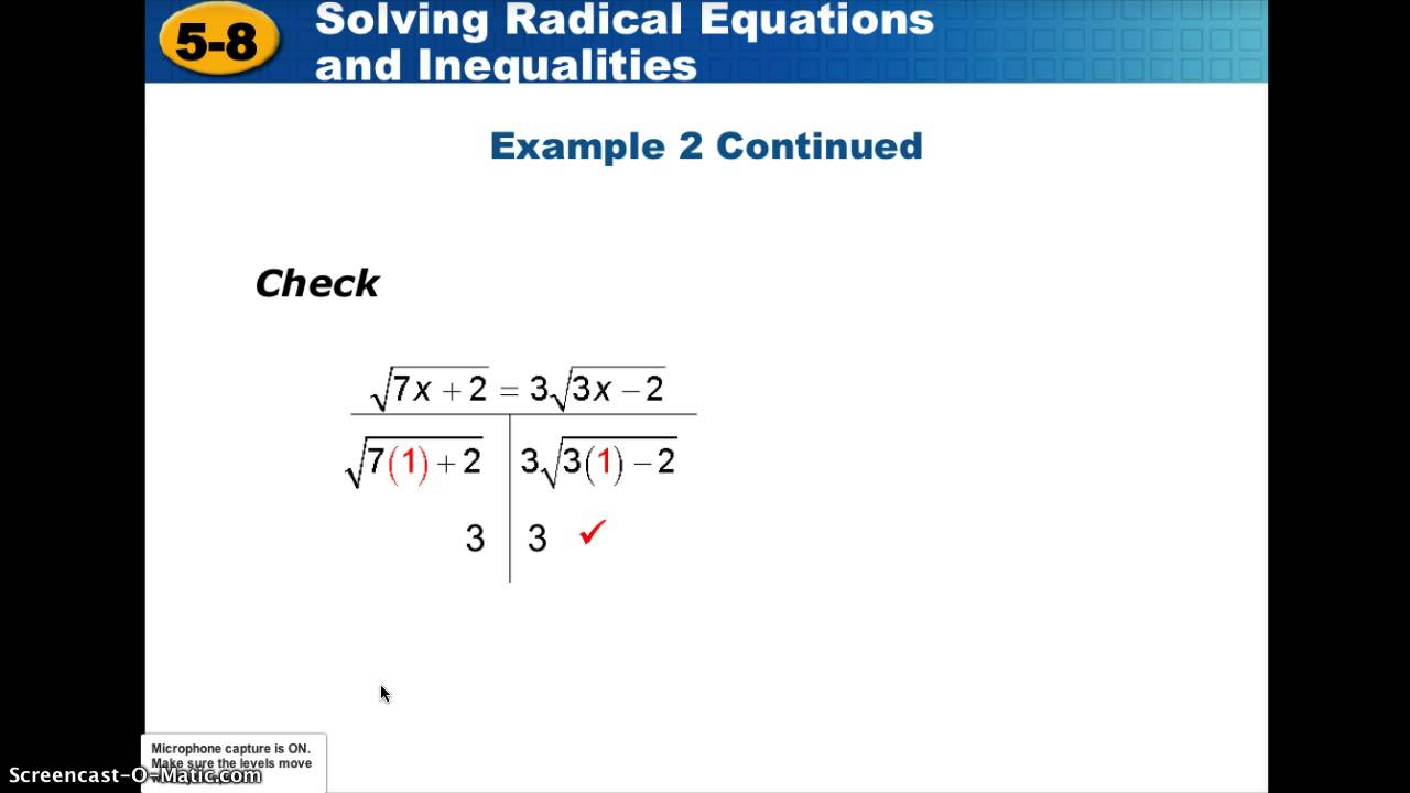 Alg2 5 8 Radical Equations And Inequalities