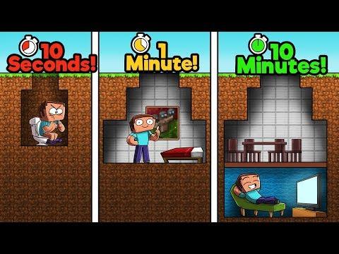 Minecraft - NOOB vs PRO vs HACKER - BUNKER! (10 Sec vs 1 Min vs 10 Min) thumbnail