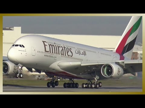 A380 Touch and Go (Aborted Landing)   Hamburg Finkenwerder Airport