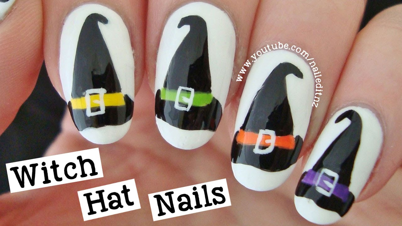 witch hat nail art halloween