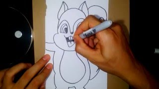 How to Draw a Chipmunk - Como Dibujar una Ardilla 7