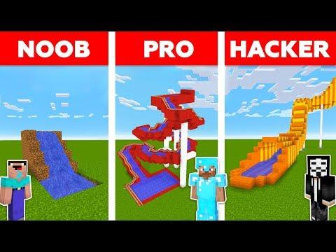 Minecraft NOOB Vs PRO Vs HACKER : WATER SLIDE CHALLENGE In Minecraft / Animation