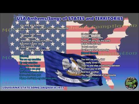 Louisiana State Song YOU ARE MY SUNSHINE with music, vocal and lyrics