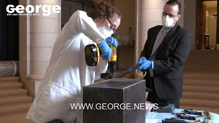 Opening the Cornerstone Time Capsule at the Memorial Amphitheater, Arlington National Cemetery