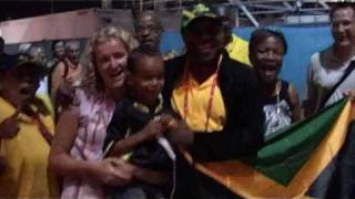Usain Bolt winning Mens 100m Final at IAAF in Berlin 2009, breaking his own World Record