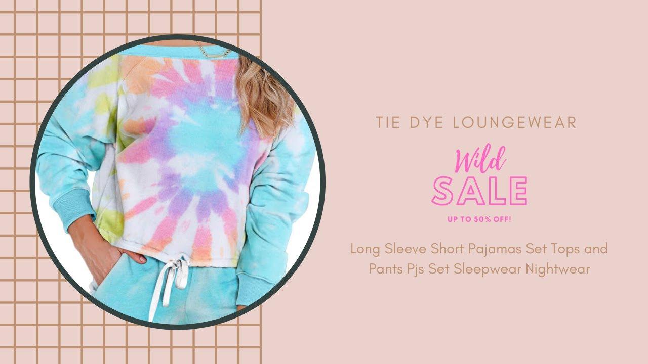 WeWeLily Womens Tie Dye Pajamas Set Loungewear Long Sleeve Short Pjs Sleepwear