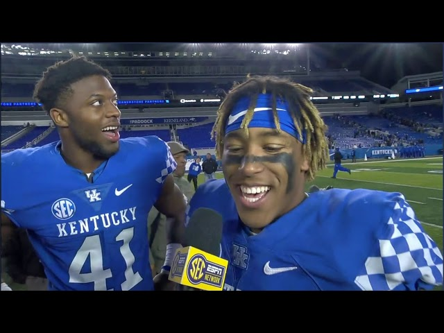 Josh Allen and Benny snell on the field interview after Vandy win.