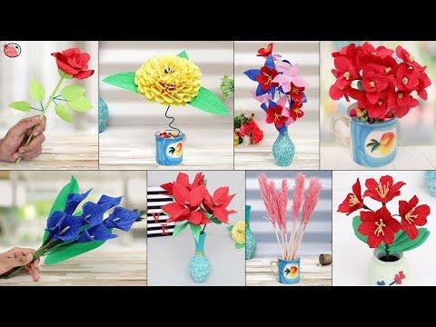 10 Flower Pot... Crape Paper Flower Making || Paper Craft
