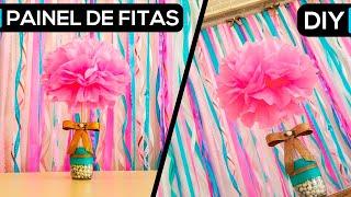 Como fazer decoração de Festa Infantil / Painel de fitas e Centro de mesa 15 anos