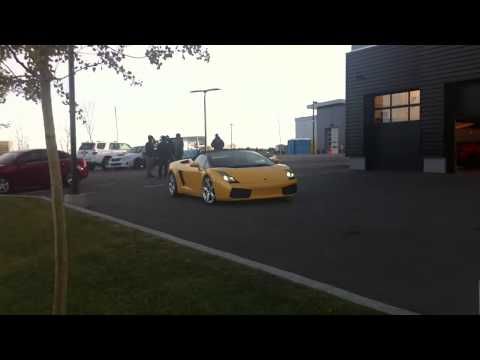 Yellow Lamborghini Gallardo Spyder Driven into Dealership Workshop - Lamborghini Calgary