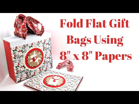 """8"""" X 3"""" x 7"""" Fold Flat Gift Bags Using 8"""" x 8"""" Papers 