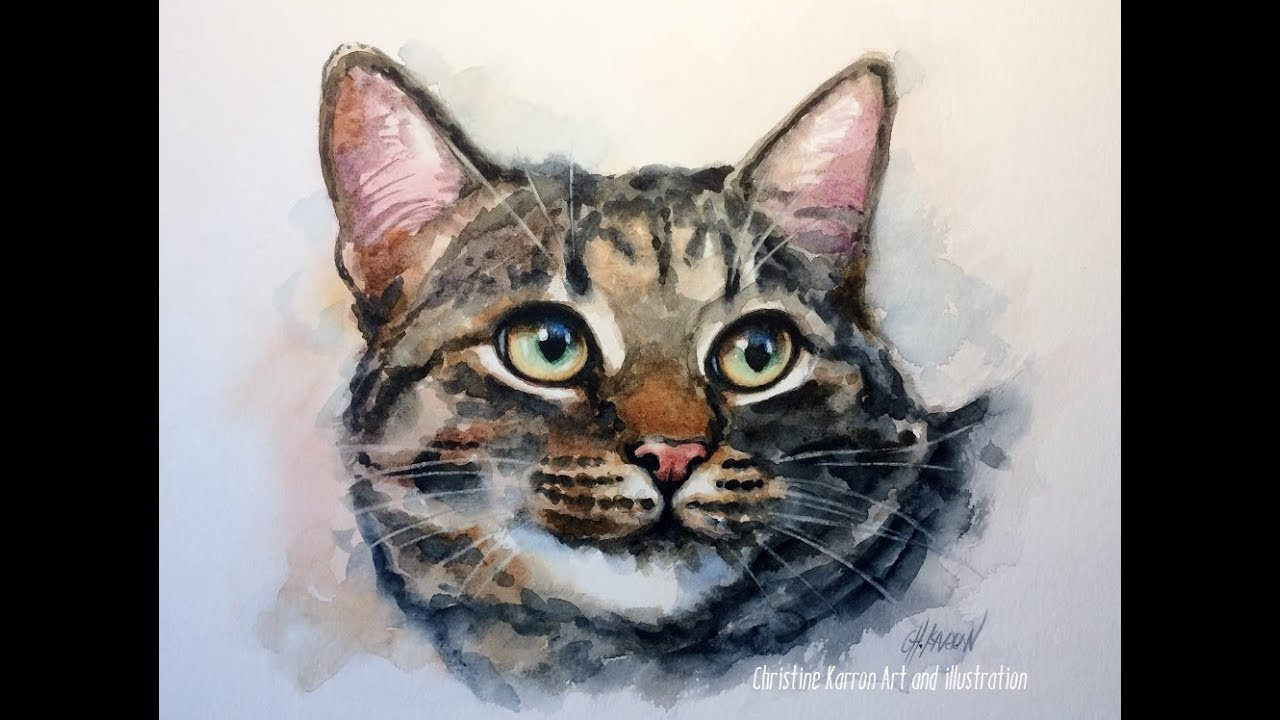 Cat Watercolor Portrait Real Time Painting Demo By Ch