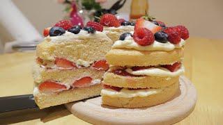 Basic sponge cake | Strawberry Sponge cake Recipe | Cách làm và trang trí bánh bông lan cơ bản