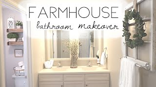 DIY BATHROOM MAKEOVER I FARMHOUSE STYLE I  ON A BUDGET I BEFORE AND AFTER BATHROOM TRANSFORMATION