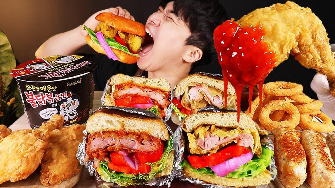 ASMR MUKBANG 햄버거 & 치즈 스틱 & 치킨먹방! FIRE Noodle & FRIED CHICKEN & CHEESE STICK EATING SOUND!