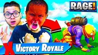 TRY NOT TO RAGE CHALLENGE FOR ADDICTED 10 YR OLD BROTHER IN FORTNITE! I TURNED OFF HIS PS4 TOP 2 😂