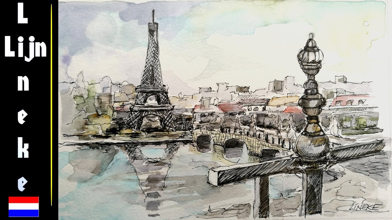 Eiffel Tower Close Up Drawing