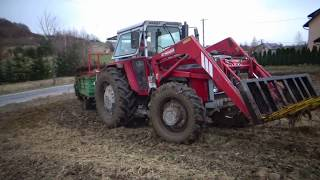Wiosenny obornik i wyrywanie korzenia 2018! Massey ferguson 592/ mailleux/rozrzutnik 2,5t
