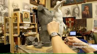 Лепка обрубовки торса (7) - Обучение скульптуре. Фигура, 12 серия