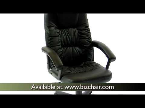 Biz Chair Com Herman Miller Repair Parts High Back Executive Black Leather Swivel Office With Nylon Base Bt 983 Bk Gg Bizchair