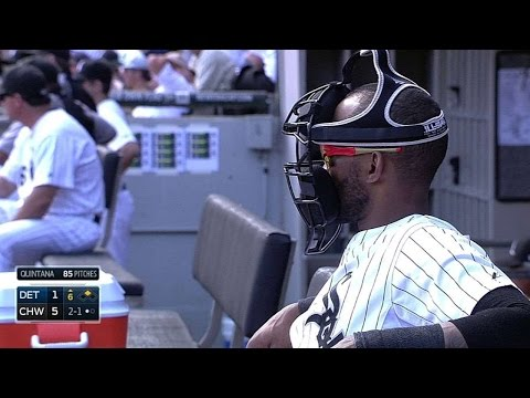 DET@CWS: Ramirez dons catcher's mask while in dugout
