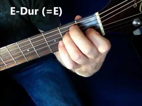 Gitarrengriffe für Anfänger - Basis-Akkorde Gitarre Em E Am A (Dur/Moll)