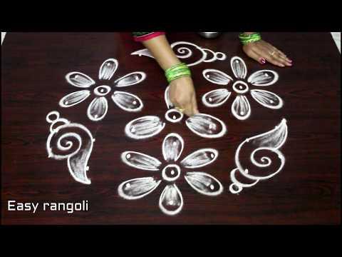 simple shanku kolam designs with dots , easy chukkala muggulu , latest shankurangoli